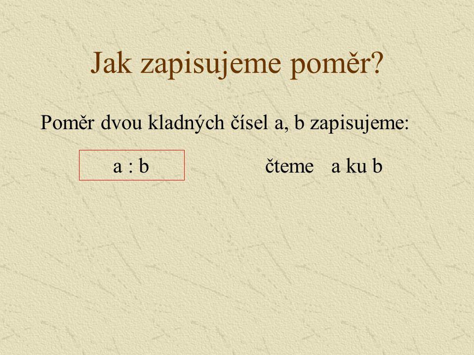 Jak zapisujeme poměr Poměr dvou kladných čísel a, b zapisujeme: a : b
