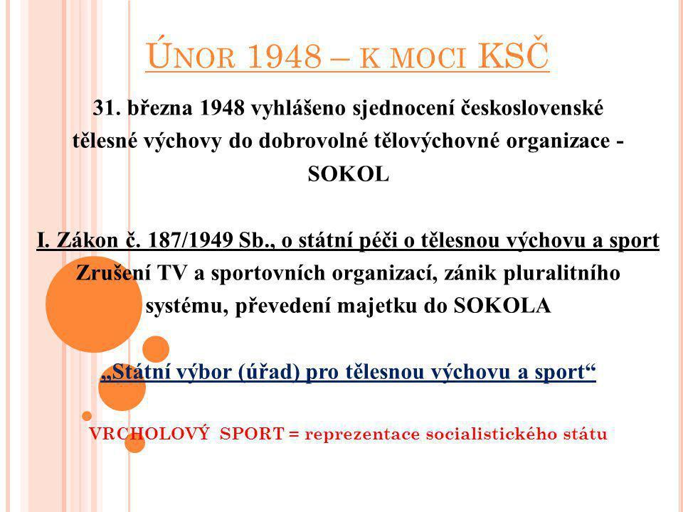 Únor 1948 – k moci KSČ 31. března 1948 vyhlášeno sjednocení československé. tělesné výchovy do dobrovolné tělovýchovné organizace -