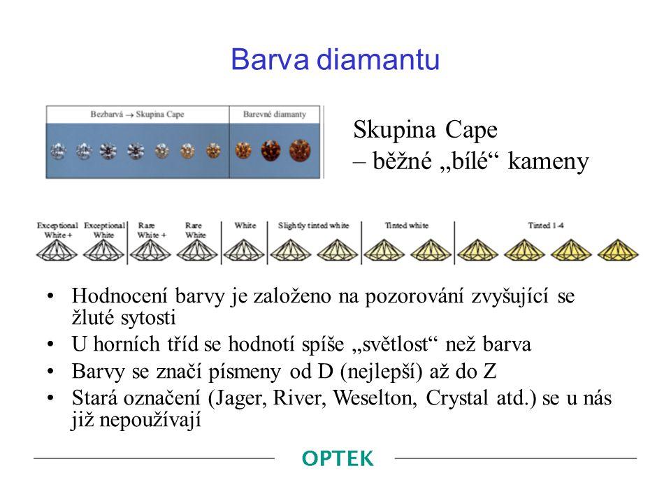 "Barva diamantu Skupina Cape – běžné ""bílé kameny"