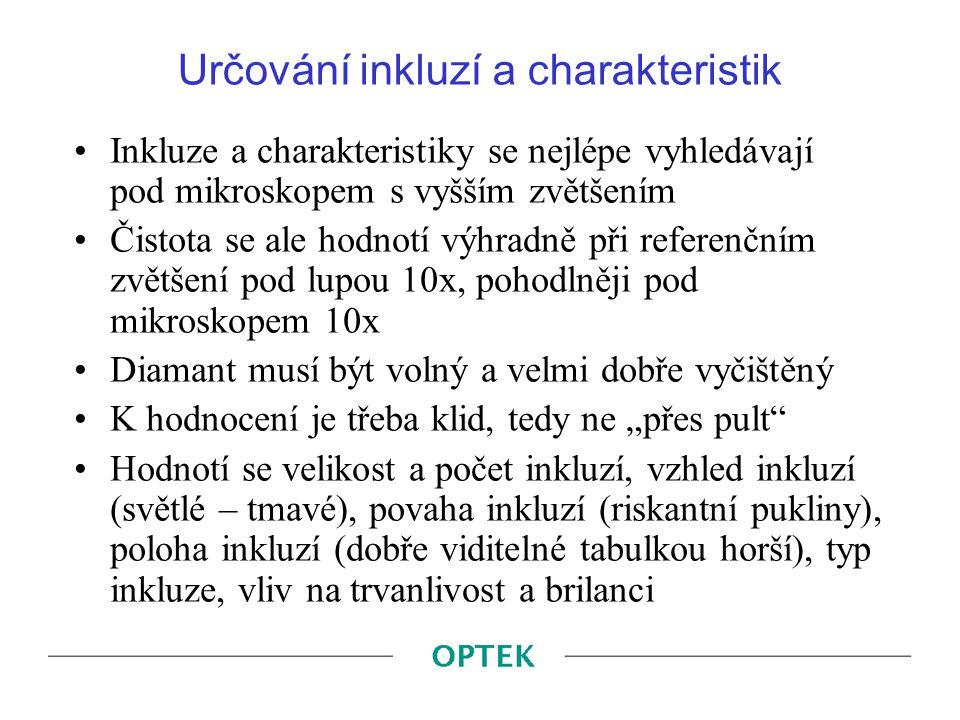 Určování inkluzí a charakteristik
