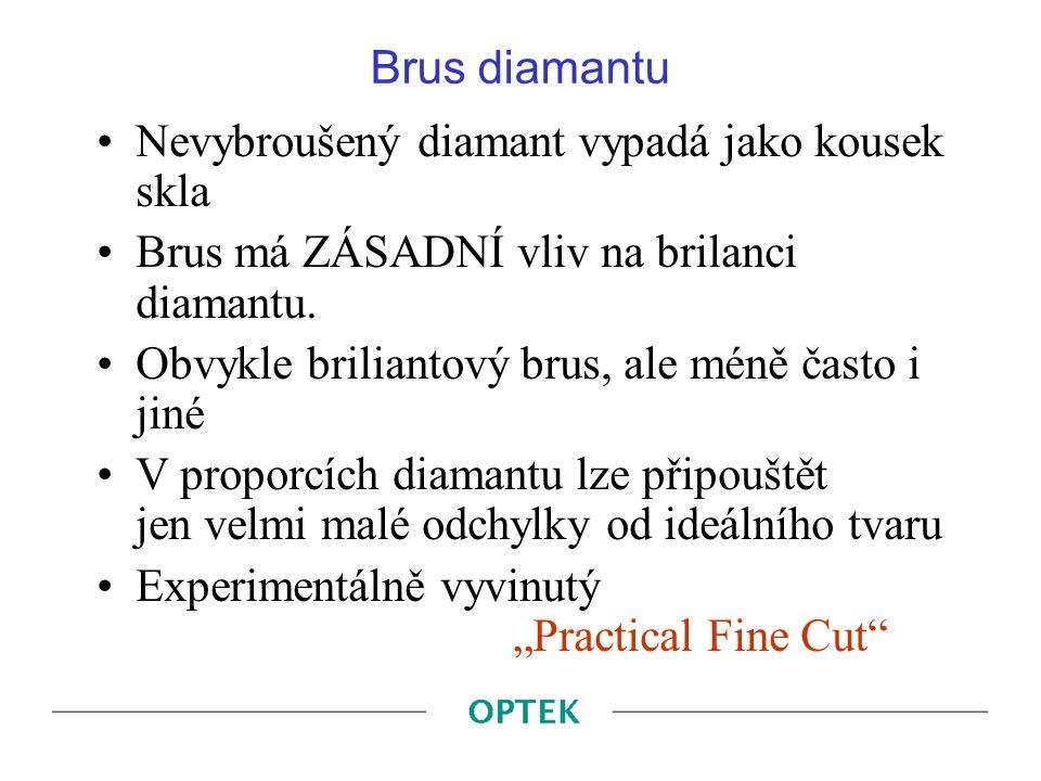 Brus diamantu Nevybroušený diamant vypadá jako kousek skla. Brus má ZÁSADNÍ vliv na brilanci diamantu.