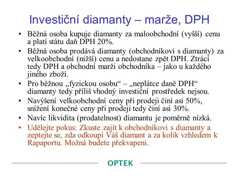 Investiční diamanty – marže, DPH