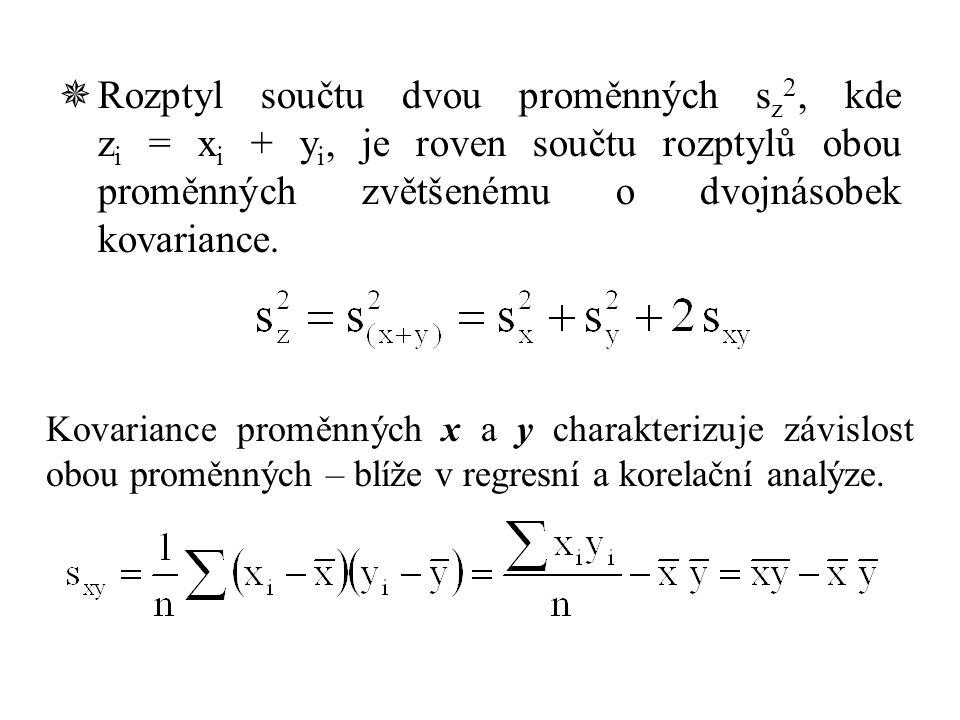 Rozptyl součtu dvou proměnných sz2, kde zi = xi + yi, je roven součtu rozptylů obou proměnných zvětšenému o dvojnásobek kovariance.