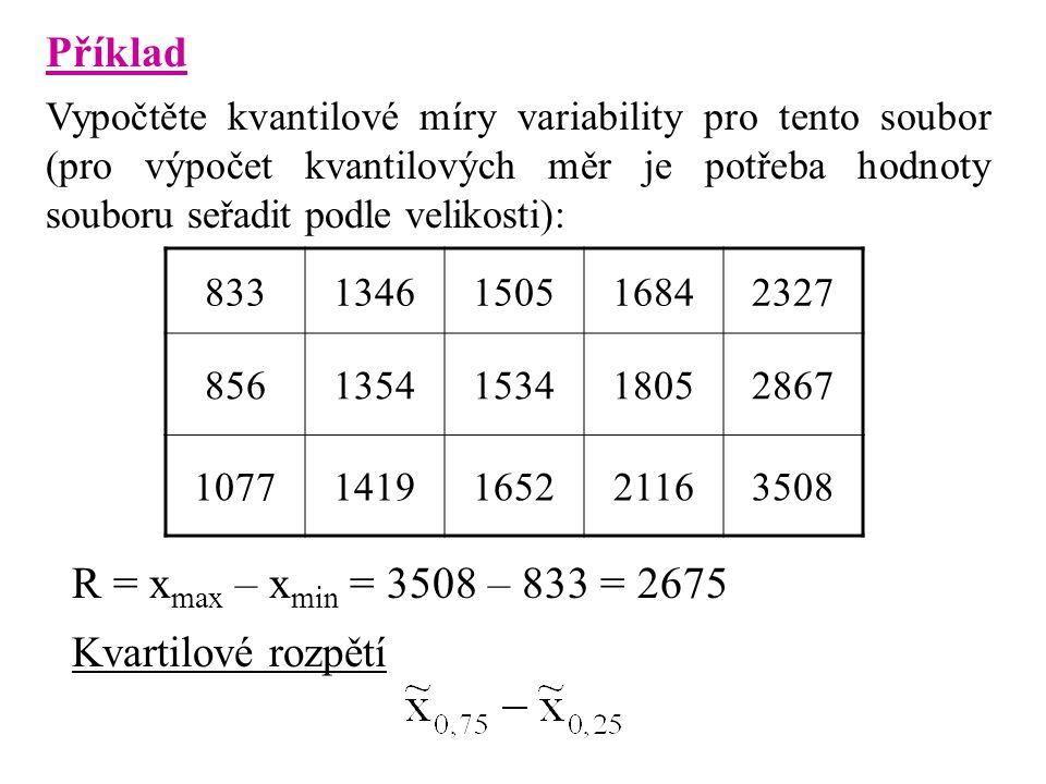 R = xmax – xmin = 3508 – 833 = 2675 Příklad Kvartilové rozpětí