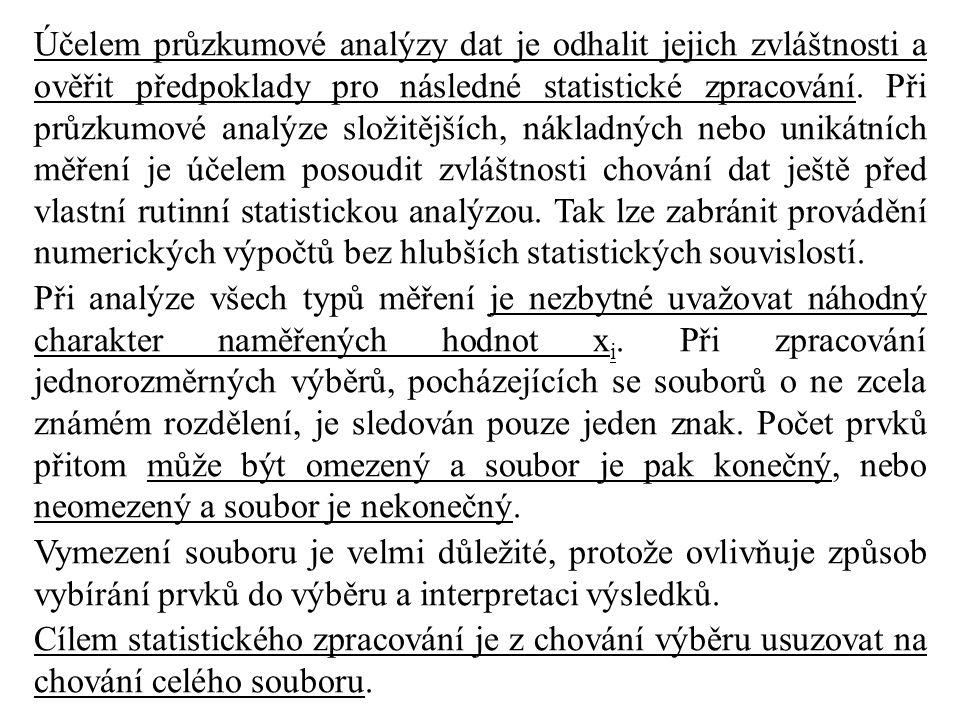 Účelem průzkumové analýzy dat je odhalit jejich zvláštnosti a ověřit předpoklady pro následné statistické zpracování. Při průzkumové analýze složitějších, nákladných nebo unikátních měření je účelem posoudit zvláštnosti chování dat ještě před vlastní rutinní statistickou analýzou. Tak lze zabránit provádění numerických výpočtů bez hlubších statistických souvislostí.