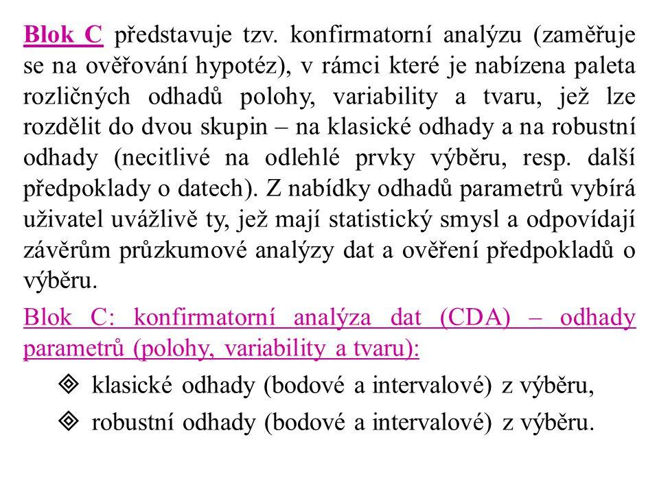 Blok C představuje tzv. konfirmatorní analýzu (zaměřuje se na ověřování hypotéz), v rámci které je nabízena paleta rozličných odhadů polohy, variability a tvaru, jež lze rozdělit do dvou skupin – na klasické odhady a na robustní odhady (necitlivé na odlehlé prvky výběru, resp. další předpoklady o datech). Z nabídky odhadů parametrů vybírá uživatel uvážlivě ty, jež mají statistický smysl a odpovídají závěrům průzkumové analýzy dat a ověření předpokladů o výběru.
