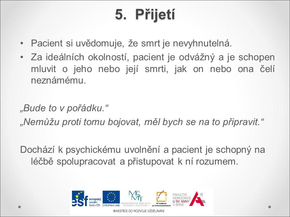 5. Přijetí Pacient si uvědomuje, že smrt je nevyhnutelná.