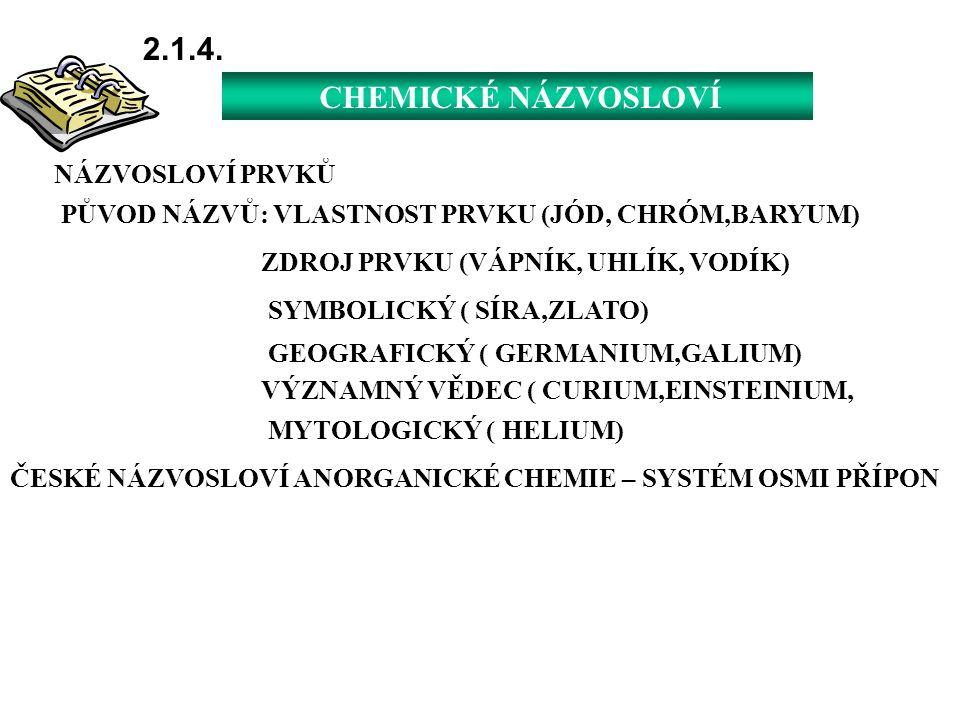 2.1.4. CHEMICKÉ NÁZVOSLOVÍ NÁZVOSLOVÍ PRVKŮ