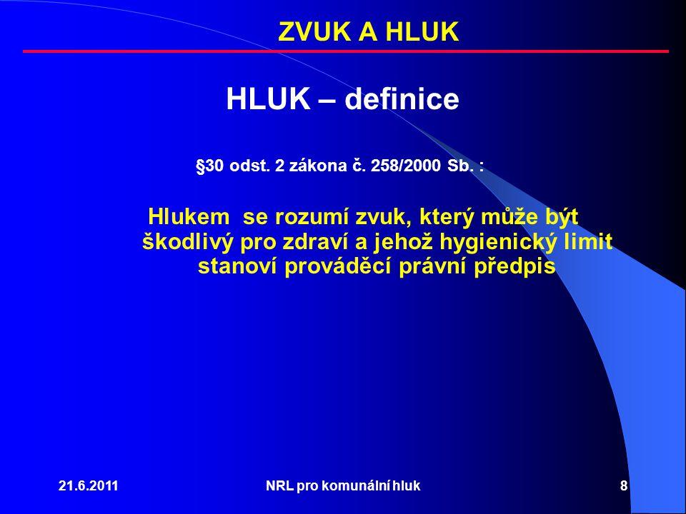 HLUK – definice ZVUK A HLUK §30 odst. 2 zákona č. 258/2000 Sb. :