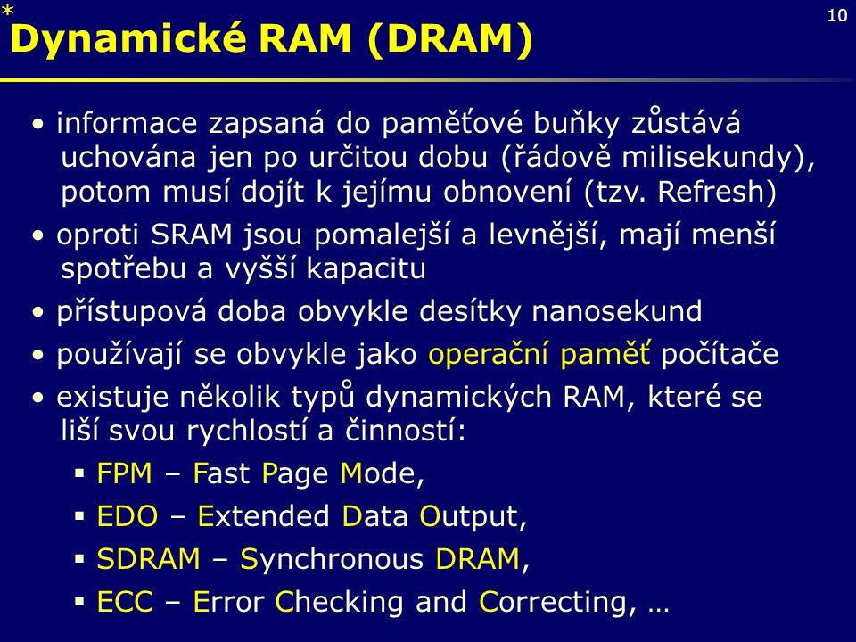 * Dynamické RAM (DRAM)
