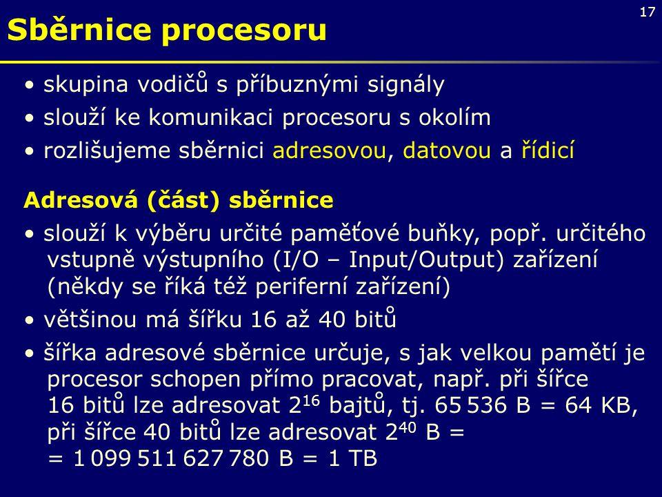 Sběrnice procesoru skupina vodičů s příbuznými signály