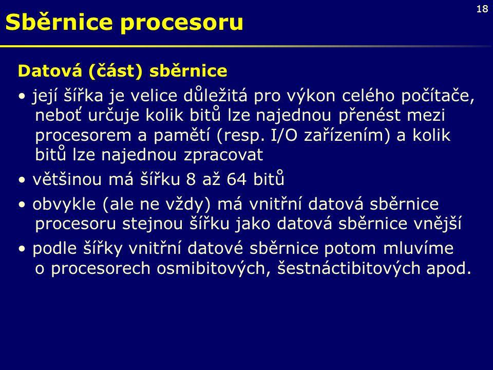 Sběrnice procesoru Datová (část) sběrnice