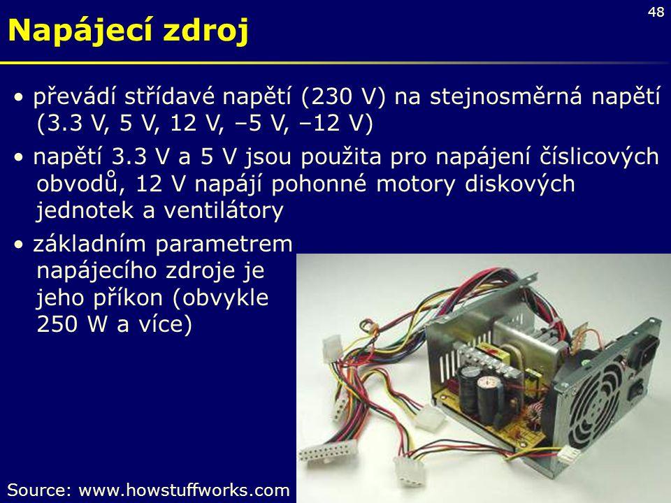Napájecí zdroj převádí střídavé napětí (230 V) na stejnosměrná napětí (3.3 V, 5 V, 12 V, –5 V, –12 V)