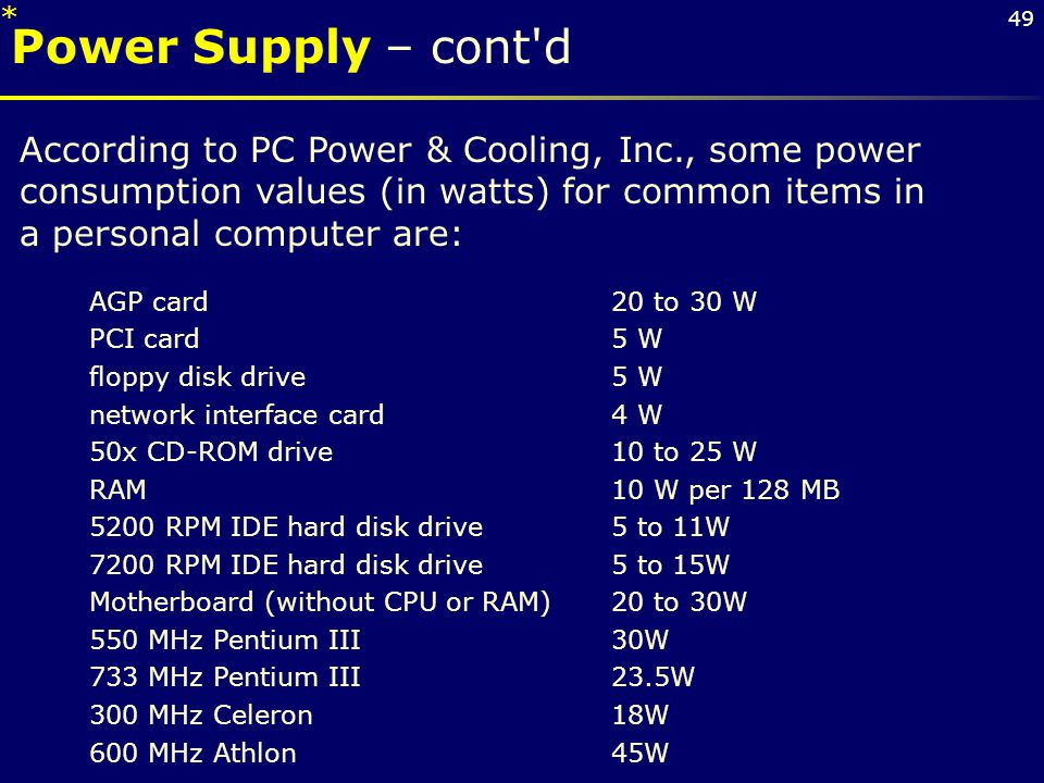 * Power Supply – cont d.