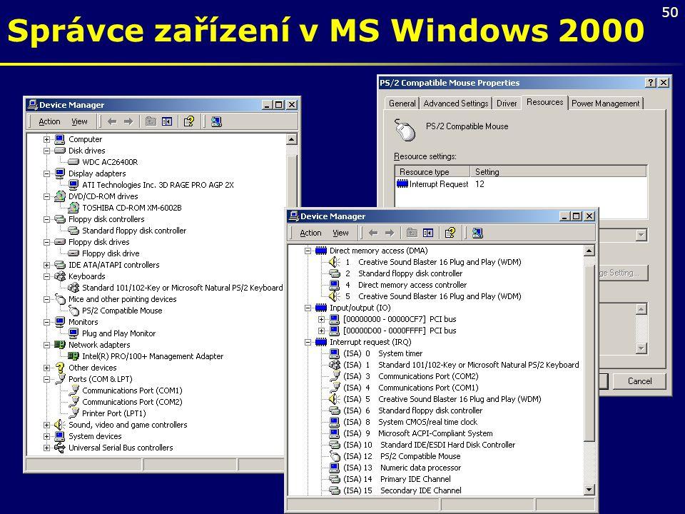 Správce zařízení v MS Windows 2000