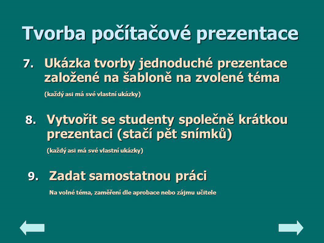 Tvorba počítačové prezentace