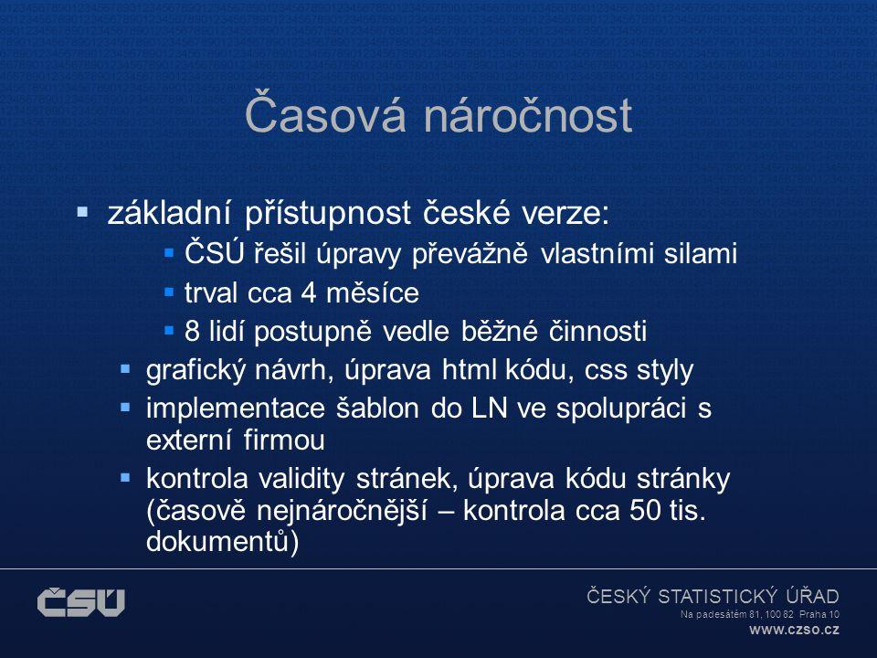 Časová náročnost základní přístupnost české verze: