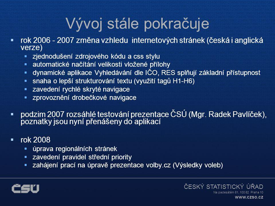 Vývoj stále pokračuje rok 2006 - 2007 změna vzhledu internetových stránek (česká i anglická verze)