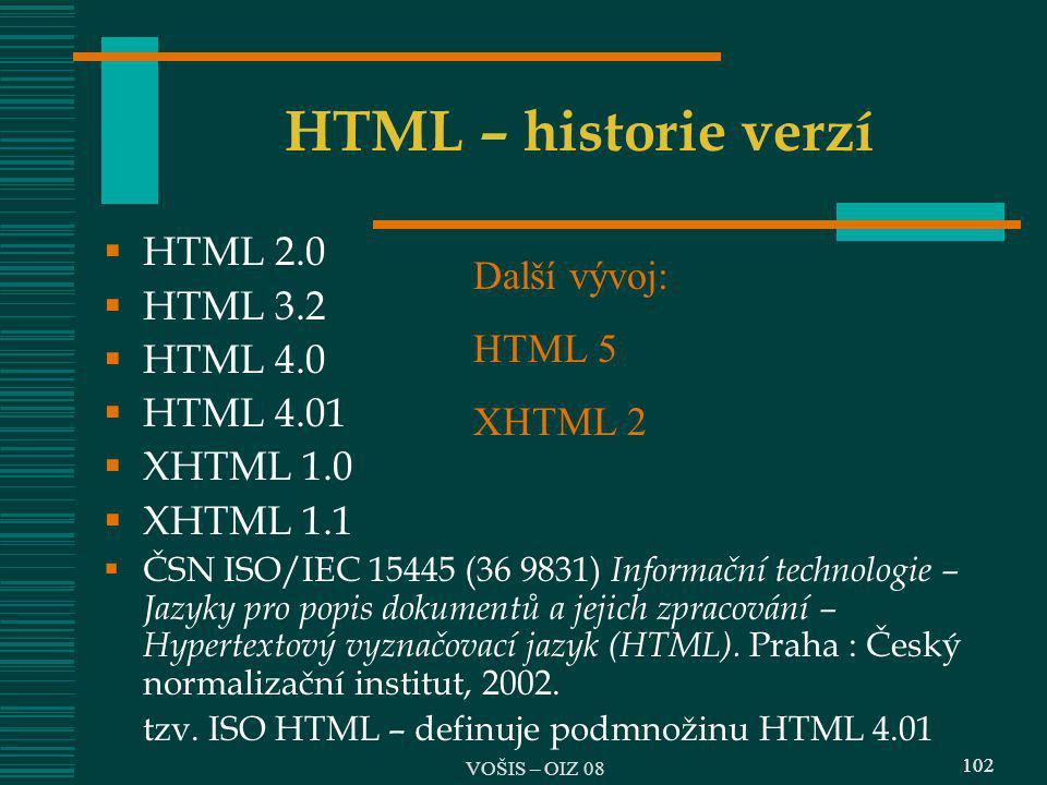 HTML – historie verzí HTML 2.0 Další vývoj: HTML 3.2 HTML 5 HTML 4.0