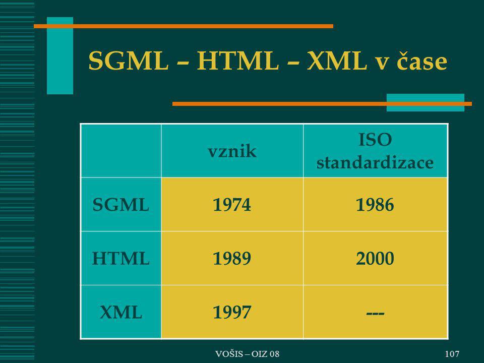 SGML – HTML – XML v čase vznik ISO standardizace SGML 1974 1986 HTML