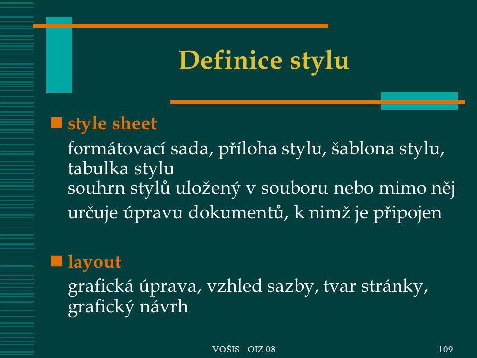 Definice stylu style sheet