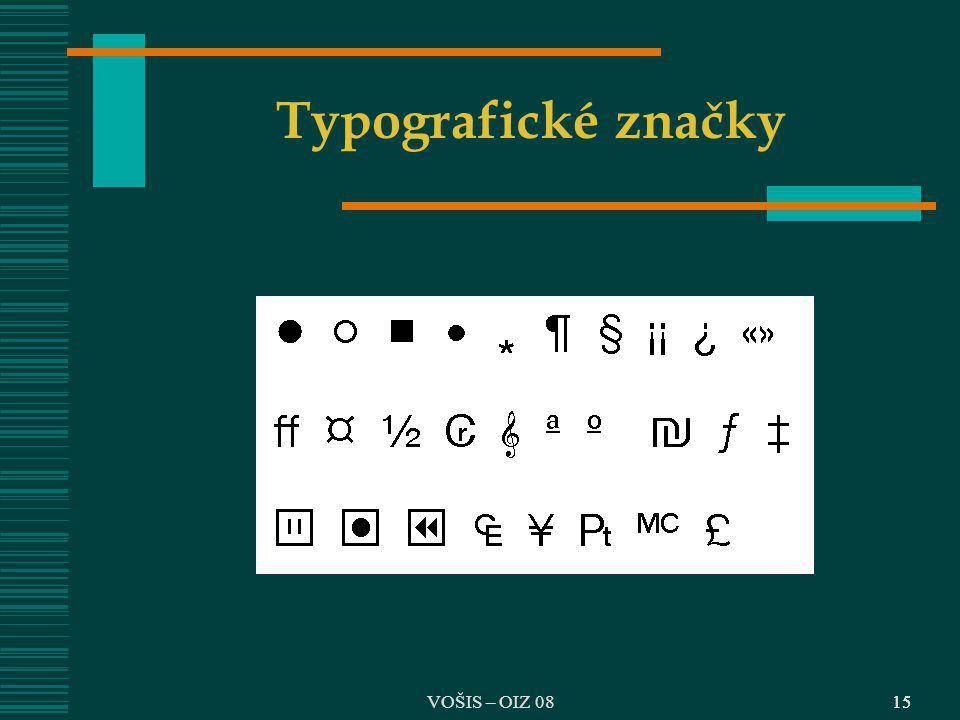 Typografické značky VOŠIS – OIZ 08 15