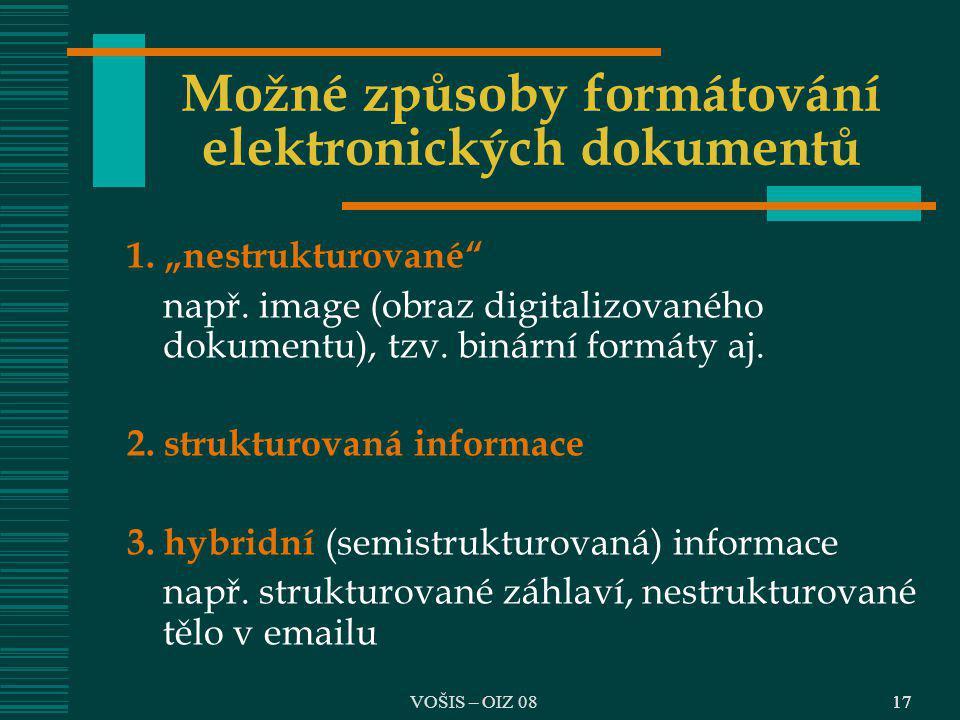 Možné způsoby formátování elektronických dokumentů