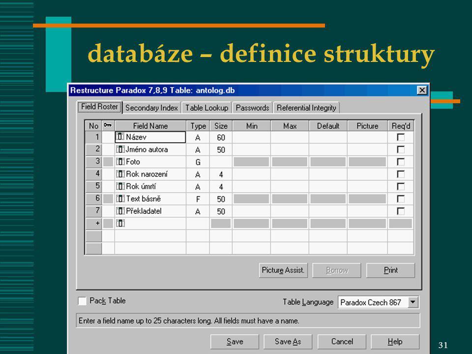 databáze – definice struktury