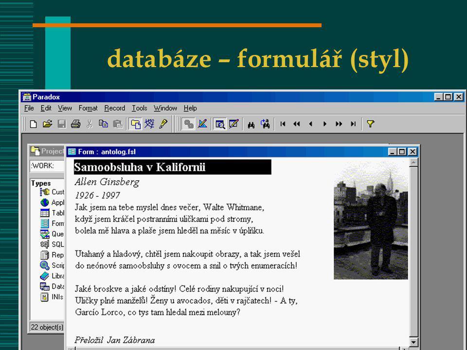 databáze – formulář (styl)