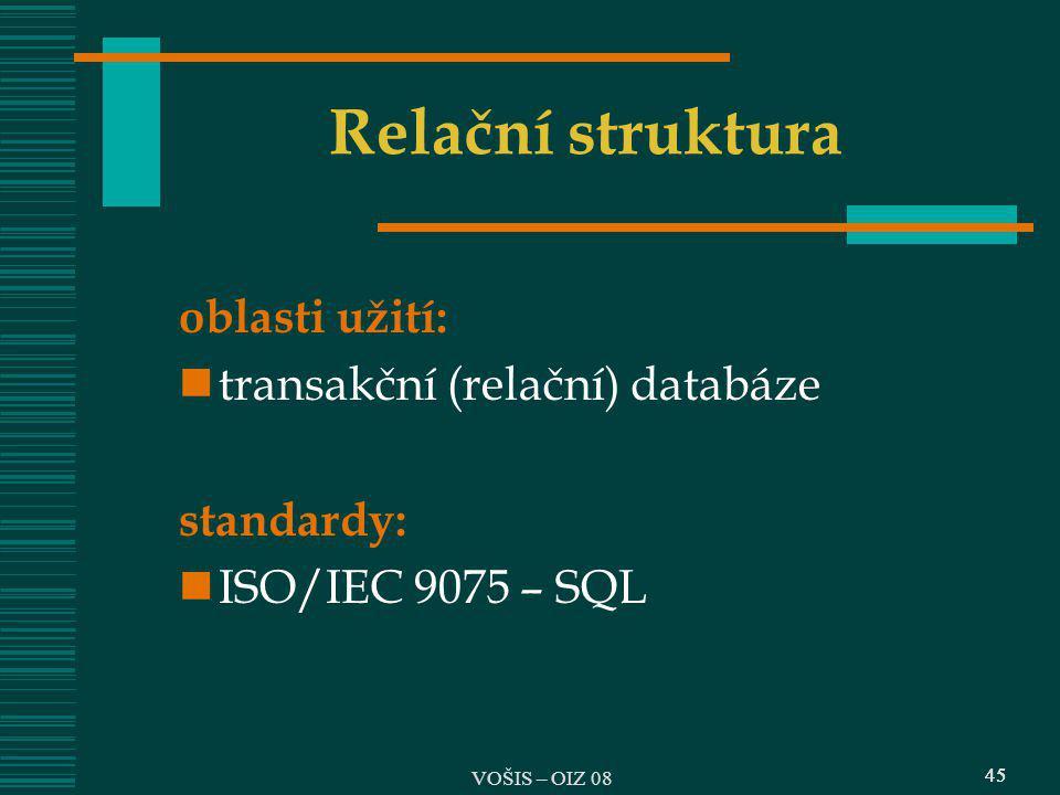 Relační struktura oblasti užití: transakční (relační) databáze