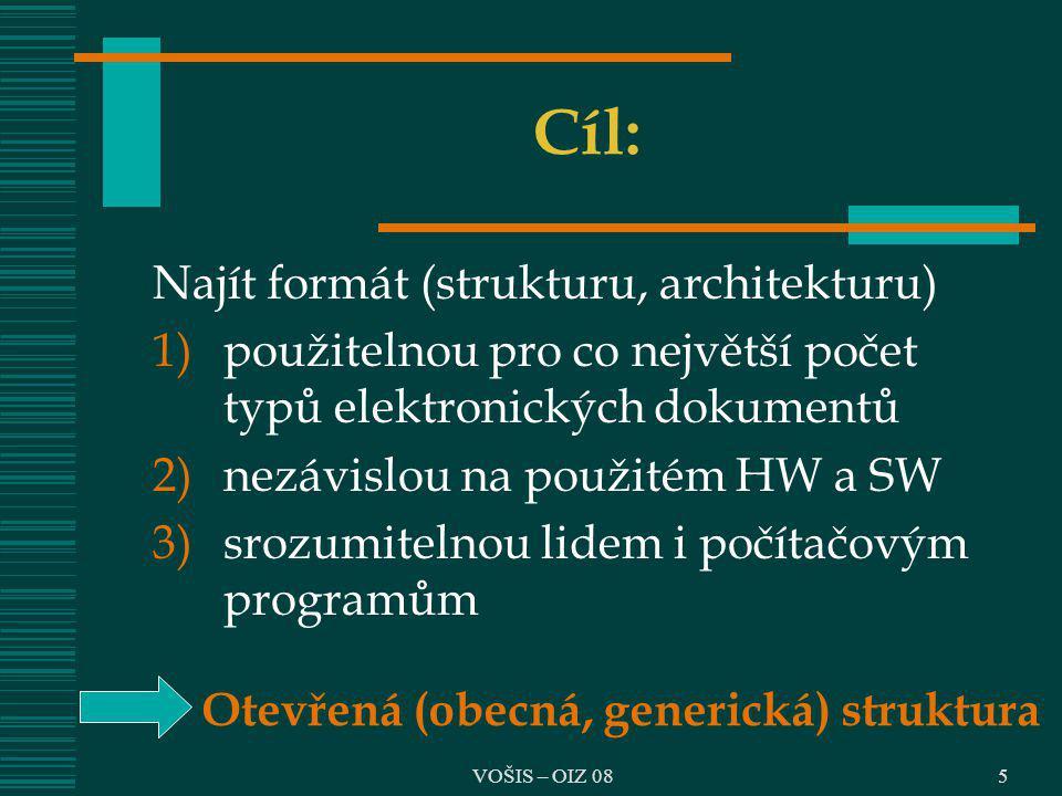 Cíl: Najít formát (strukturu, architekturu)