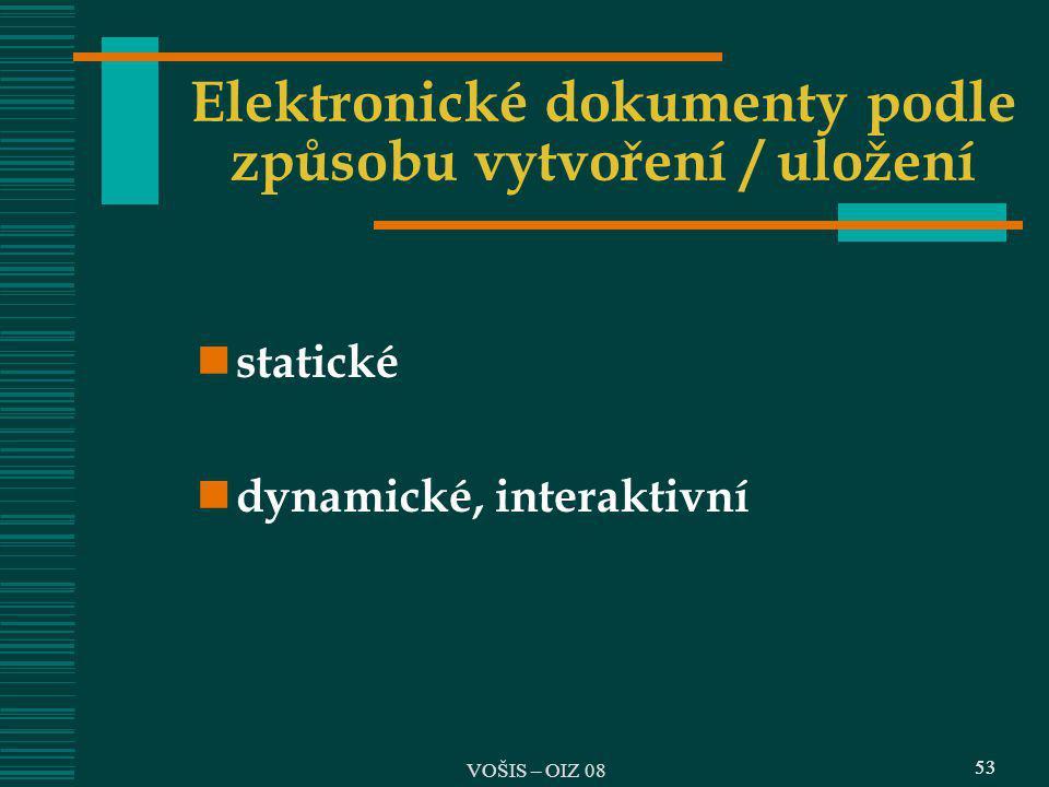 Elektronické dokumenty podle způsobu vytvoření / uložení