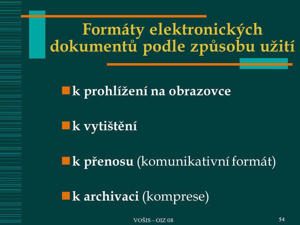 Formáty elektronických dokumentů podle způsobu užití