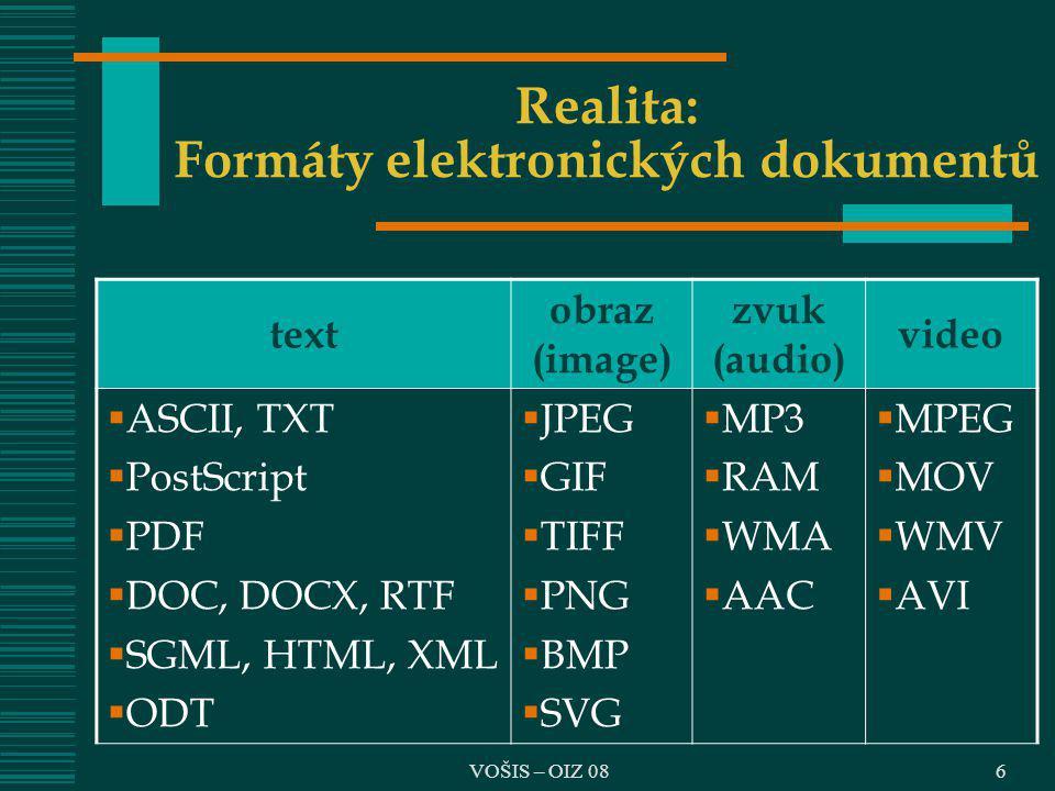 Realita: Formáty elektronických dokumentů