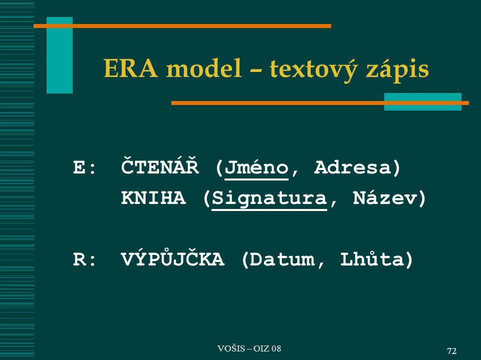 ERA model – textový zápis