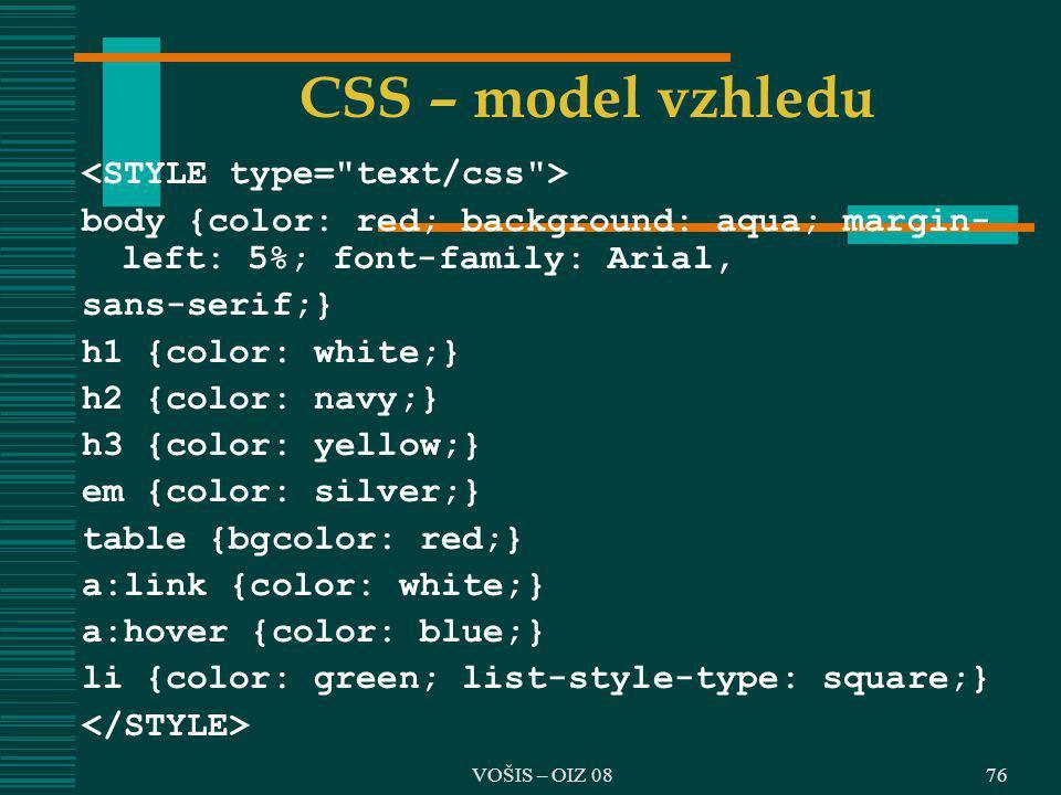 CSS – model vzhledu <STYLE type= text/css >