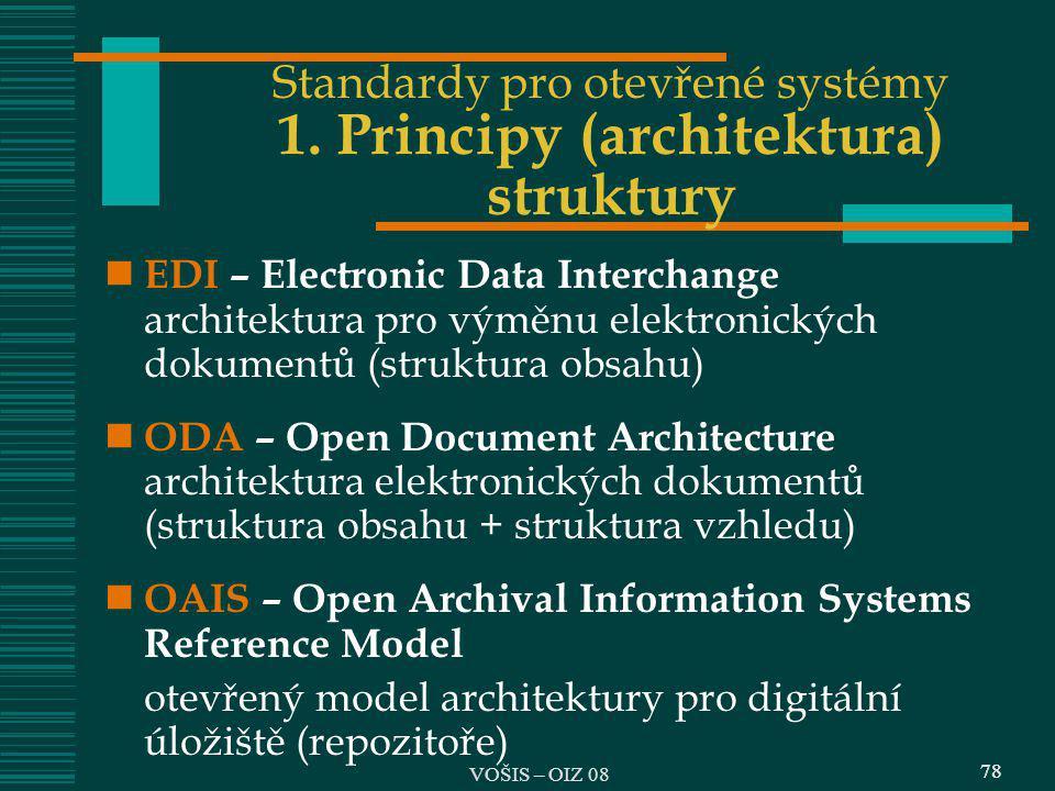 Standardy pro otevřené systémy 1. Principy (architektura) struktury