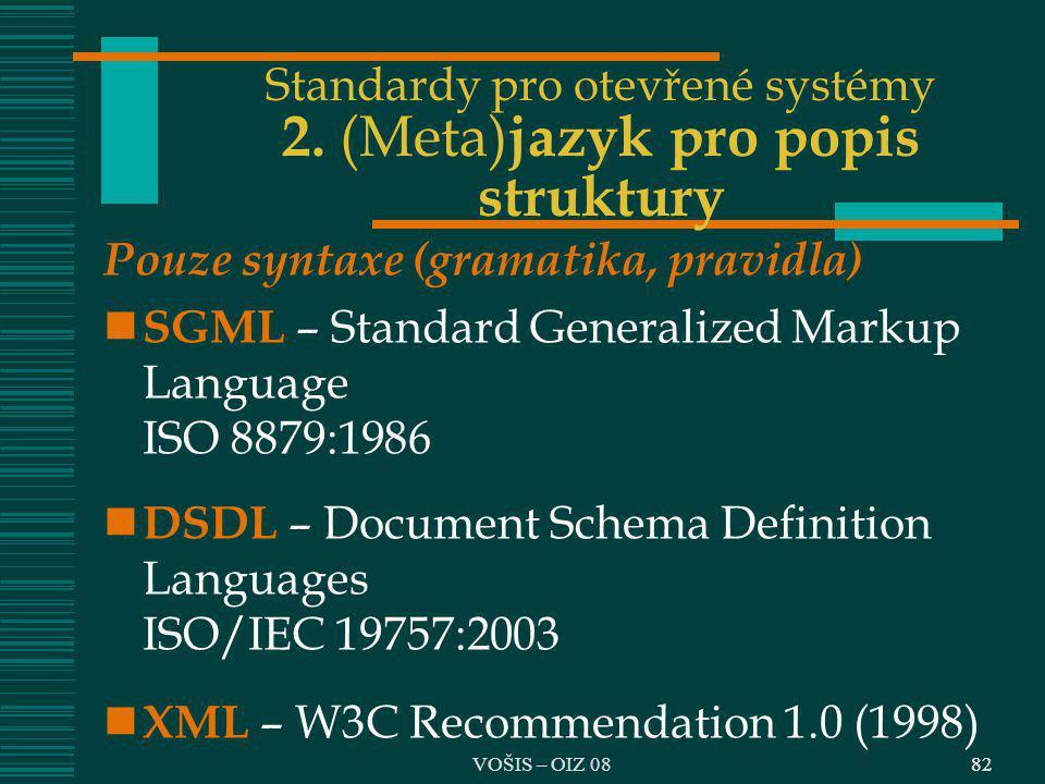 Standardy pro otevřené systémy 2. (Meta)jazyk pro popis struktury