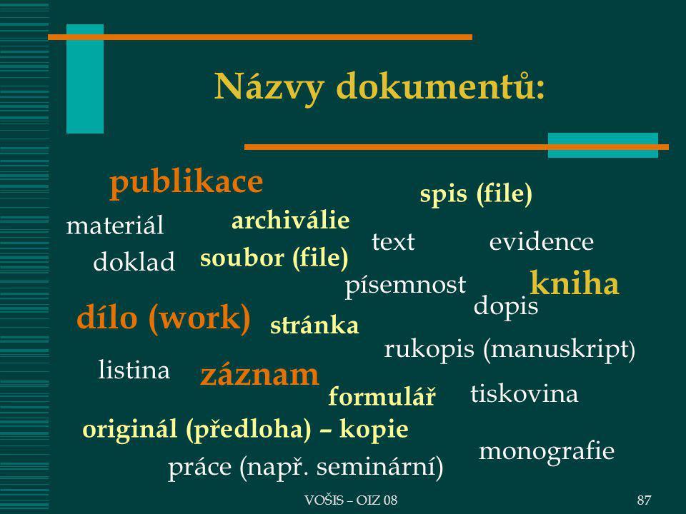 Názvy dokumentů: publikace kniha dílo (work) záznam spis (file)