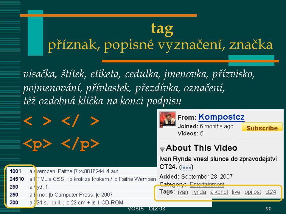 tag příznak, popisné vyznačení, značka