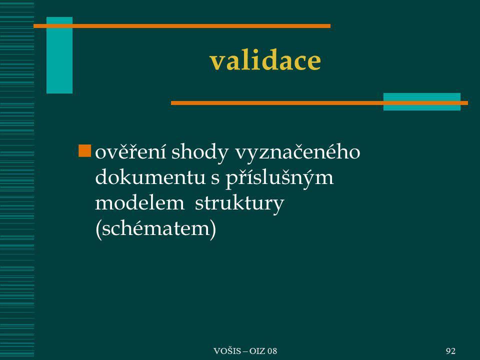 validace ověření shody vyznačeného dokumentu s příslušným modelem struktury (schématem) VOŠIS – OIZ 08.