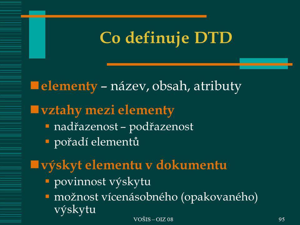 Co definuje DTD elementy – název, obsah, atributy vztahy mezi elementy
