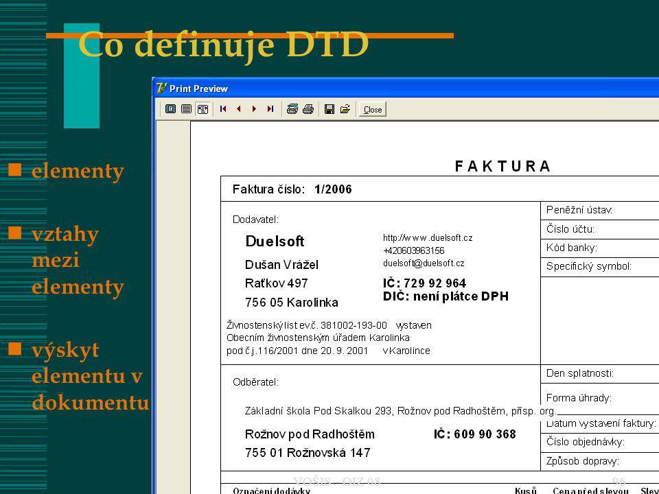 Co definuje DTD elementy vztahy mezi elementy