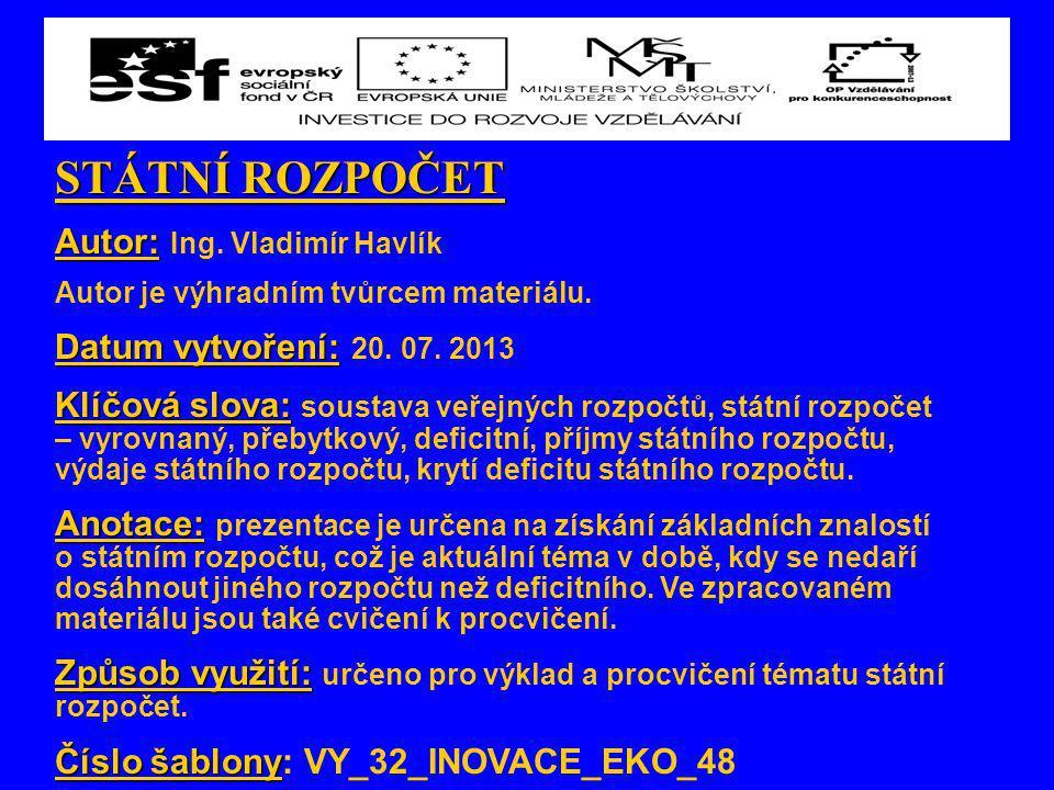 STÁTNÍ ROZPOČET Autor: Ing. Vladimír Havlík