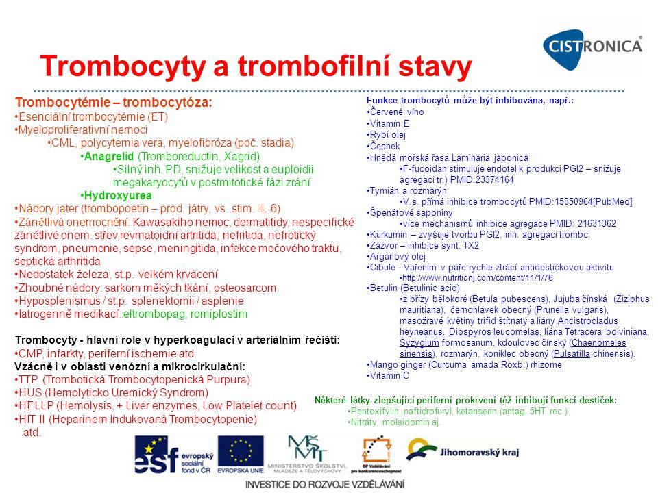 Trombocyty a trombofilní stavy