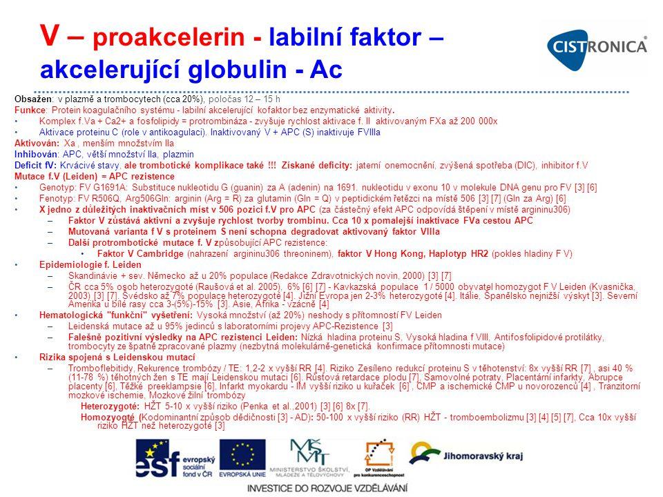 V – proakcelerin - labilní faktor – akcelerující globulin - Ac