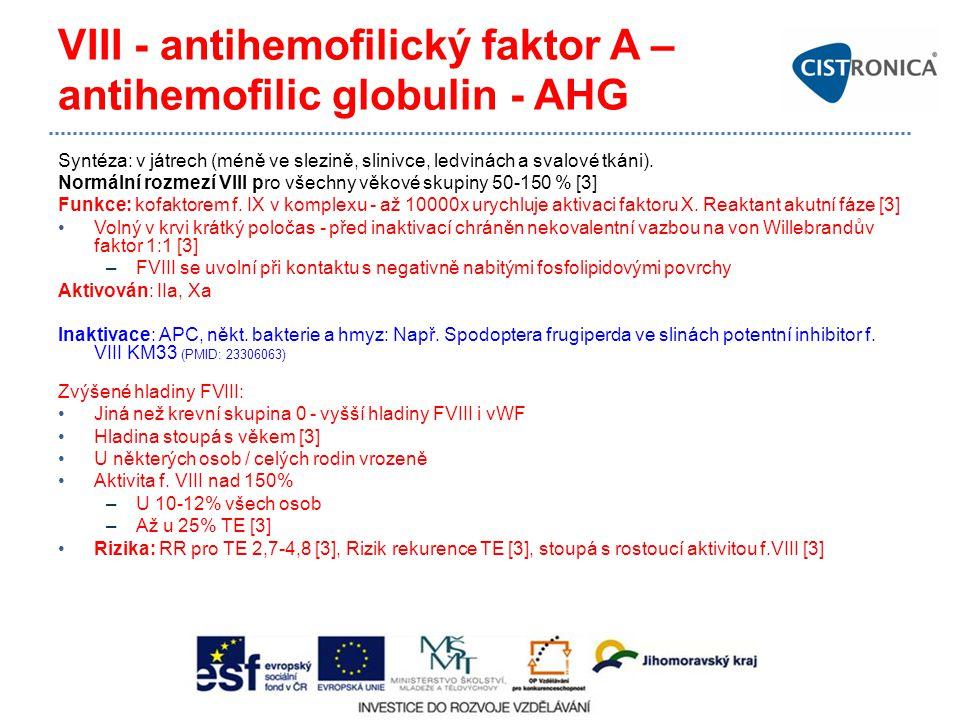 VIII - antihemofilický faktor A – antihemofilic globulin - AHG