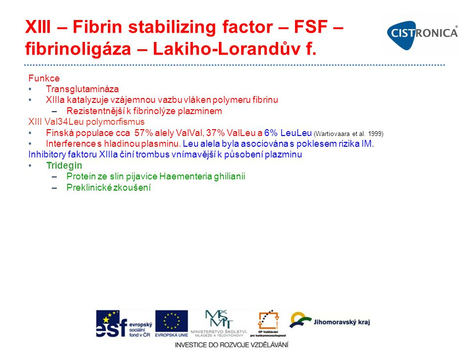 XIII – Fibrin stabilizing factor – FSF – fibrinoligáza – Lakiho-Lorandův f.