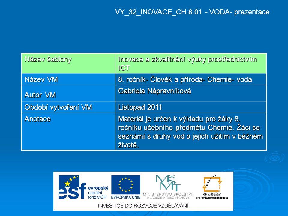 VY_32_INOVACE_CH.8.01 - VODA- prezentace