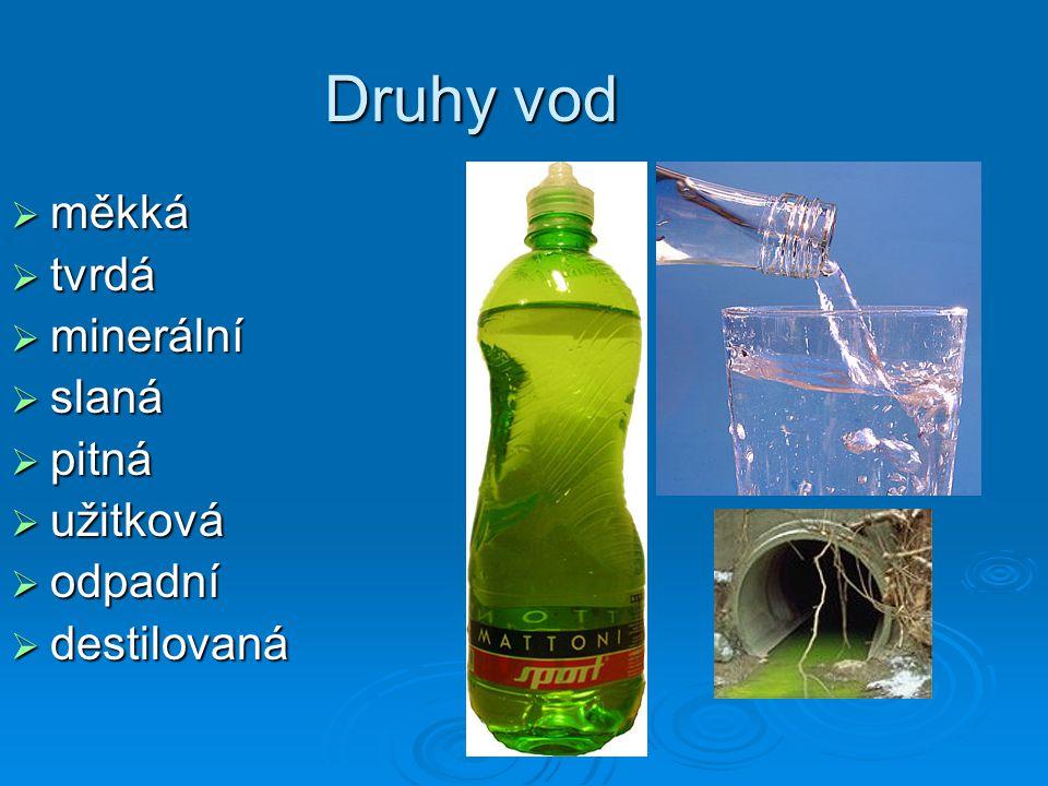 Druhy vod měkká tvrdá minerální slaná pitná užitková odpadní